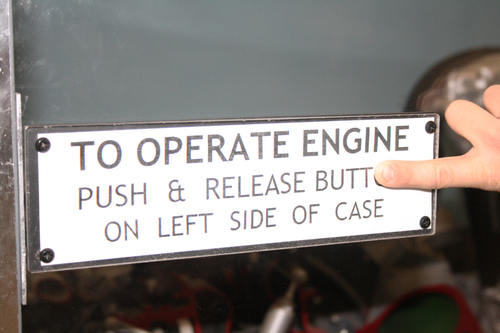 To Operate Engine, Push & Release Butt