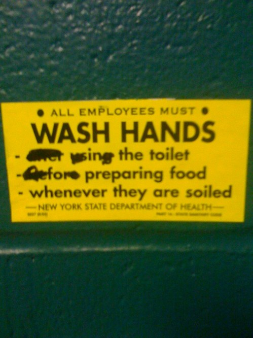 All Employees Must Wash Hands in the Toilet for Preparing Food